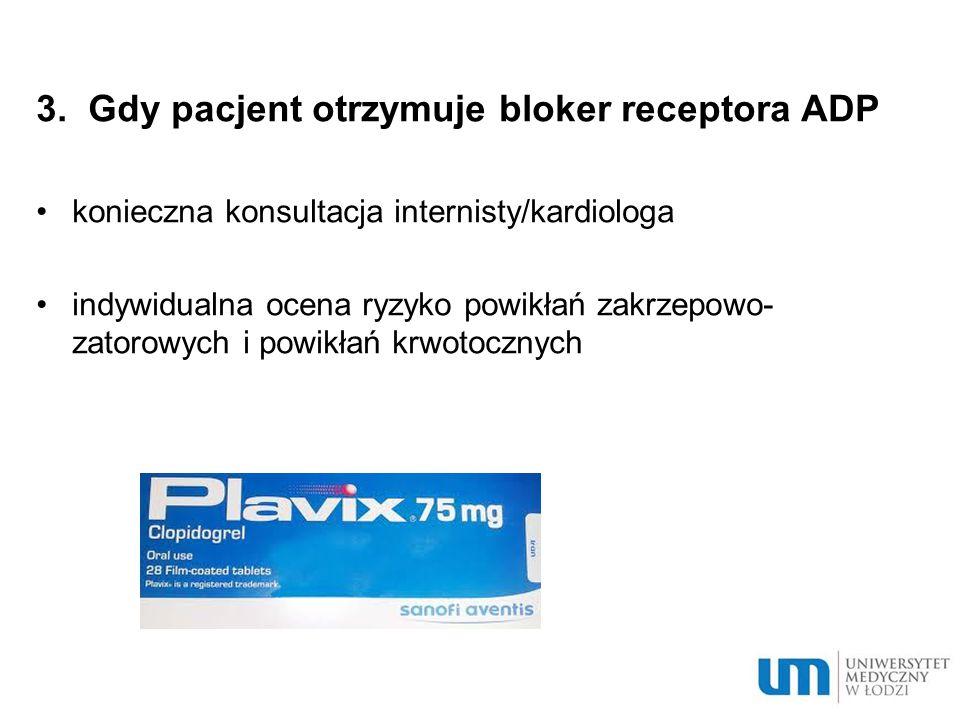 3. Gdy pacjent otrzymuje bloker receptora ADP