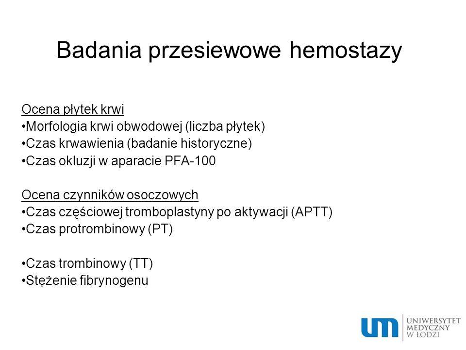 Badania przesiewowe hemostazy
