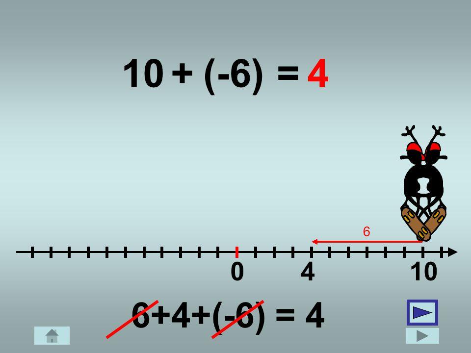 10 + (-6) = 4 6 4 10 6+4+(-6) = 4