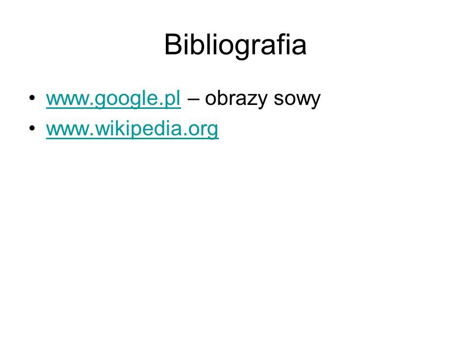 Bibliografia www.google.pl – obrazy sowy www.wikipedia.org