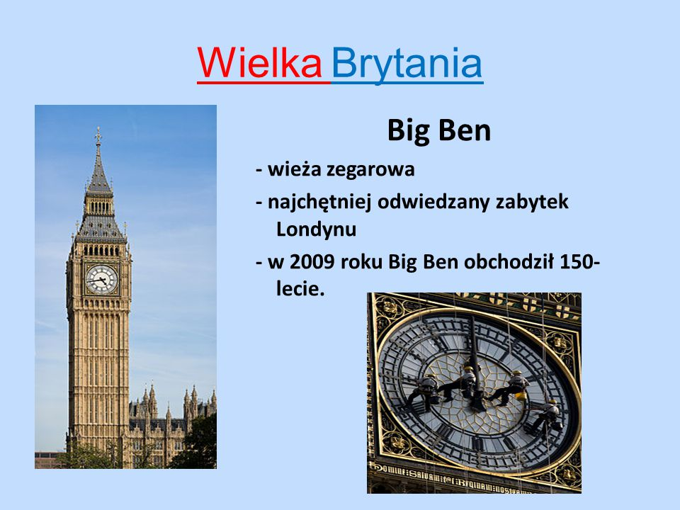 Wielka Brytania Big Ben - wieża zegarowa