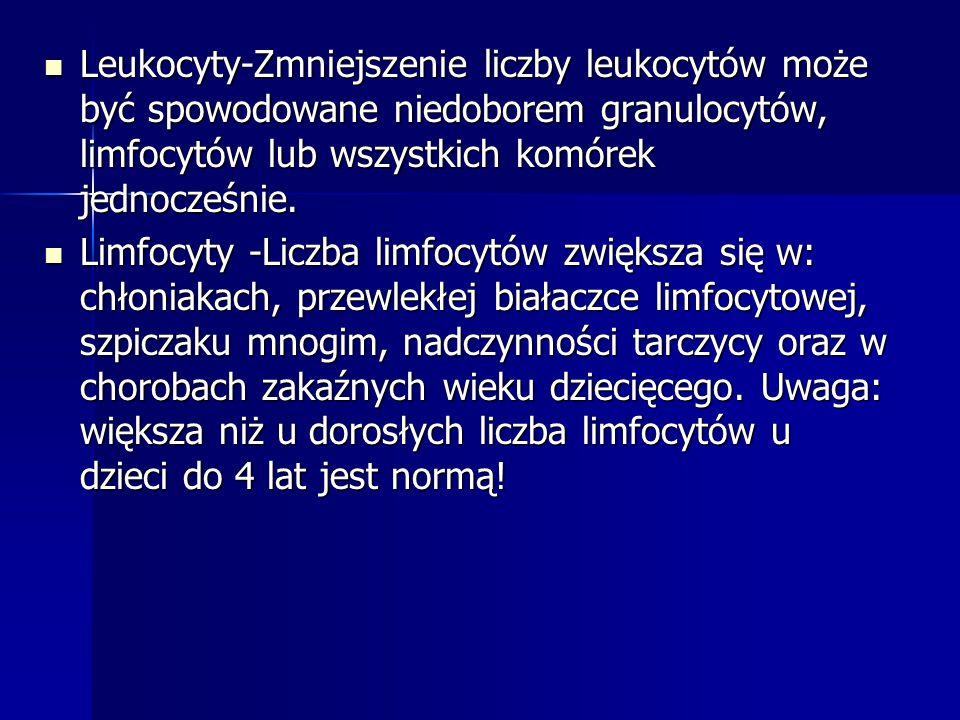 Leukocyty-Zmniejszenie liczby leukocytów może być spowodowane niedoborem granulocytów, limfocytów lub wszystkich komórek jednocześnie.