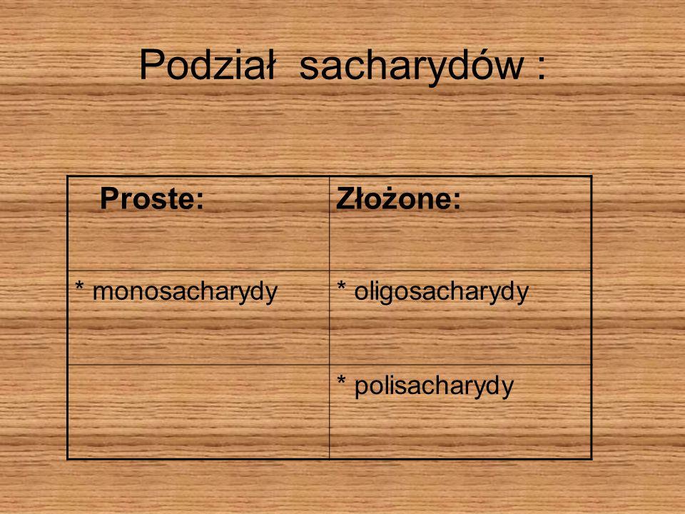 Podział sacharydów : Proste: Złożone: * monosacharydy * oligosacharydy