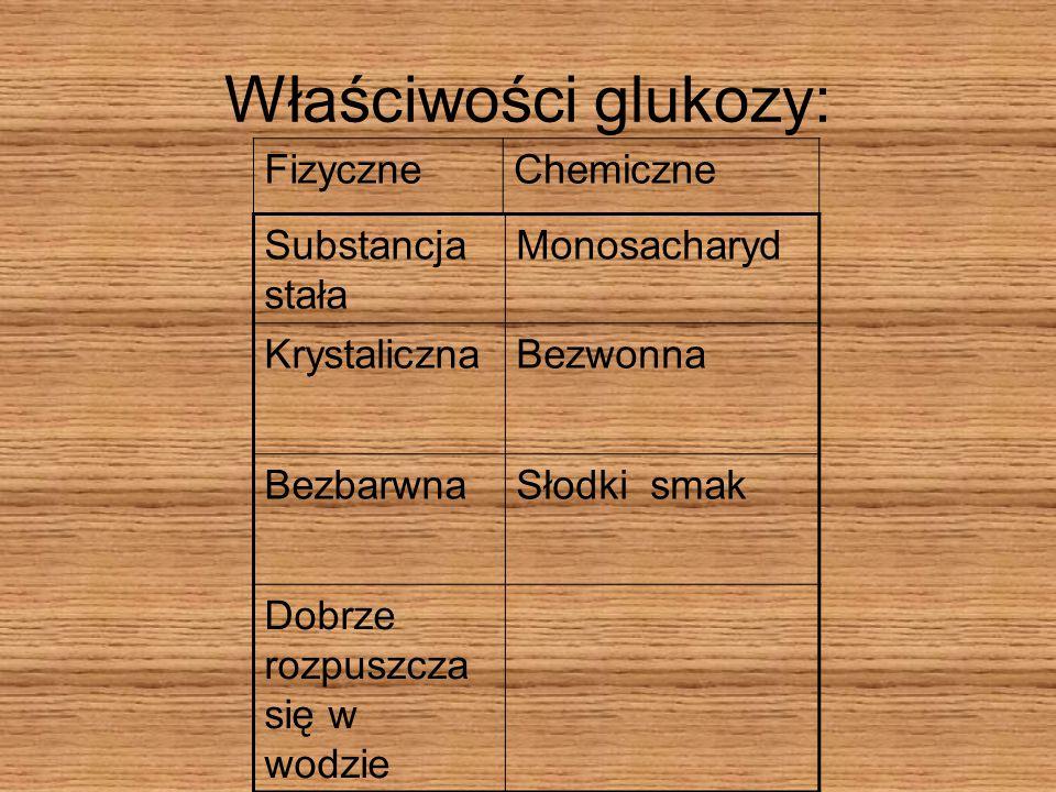 Właściwości glukozy: Fizyczne Chemiczne Substancja stała Monosacharyd