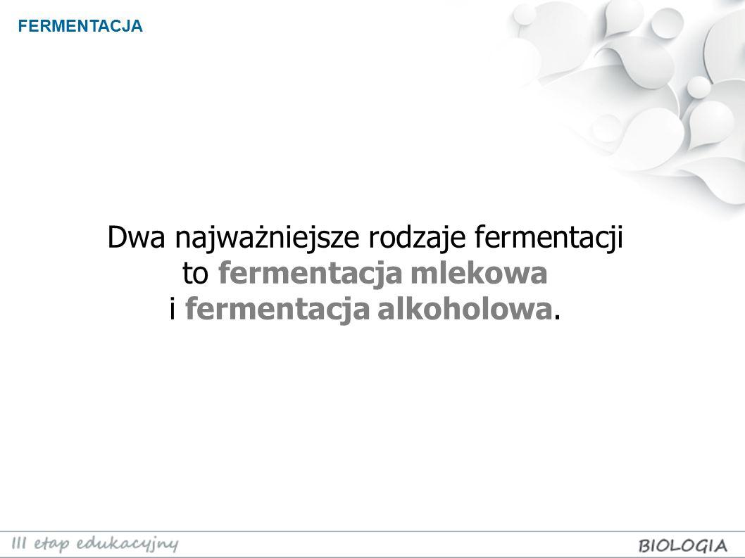 FERMENTACJA Dwa najważniejsze rodzaje fermentacji to fermentacja mlekowa i fermentacja alkoholowa.