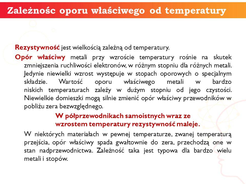 Zależnośc oporu właściwego od temperatury