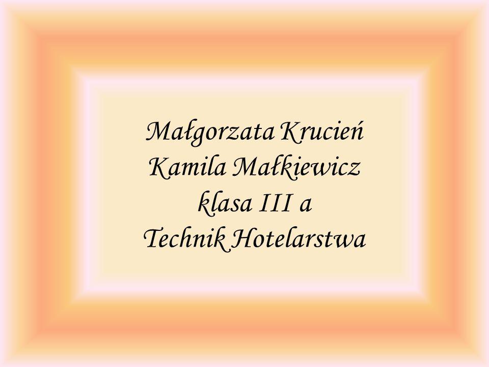 Małgorzata Krucień Kamila Małkiewicz klasa III a Technik Hotelarstwa