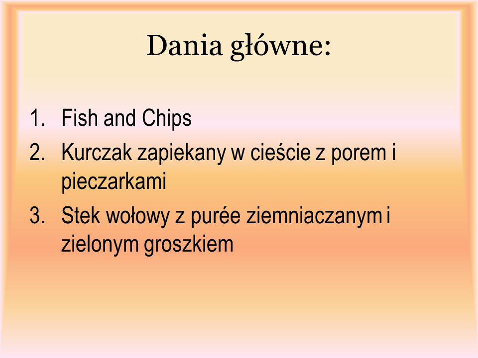 Dania główne: Fish and Chips