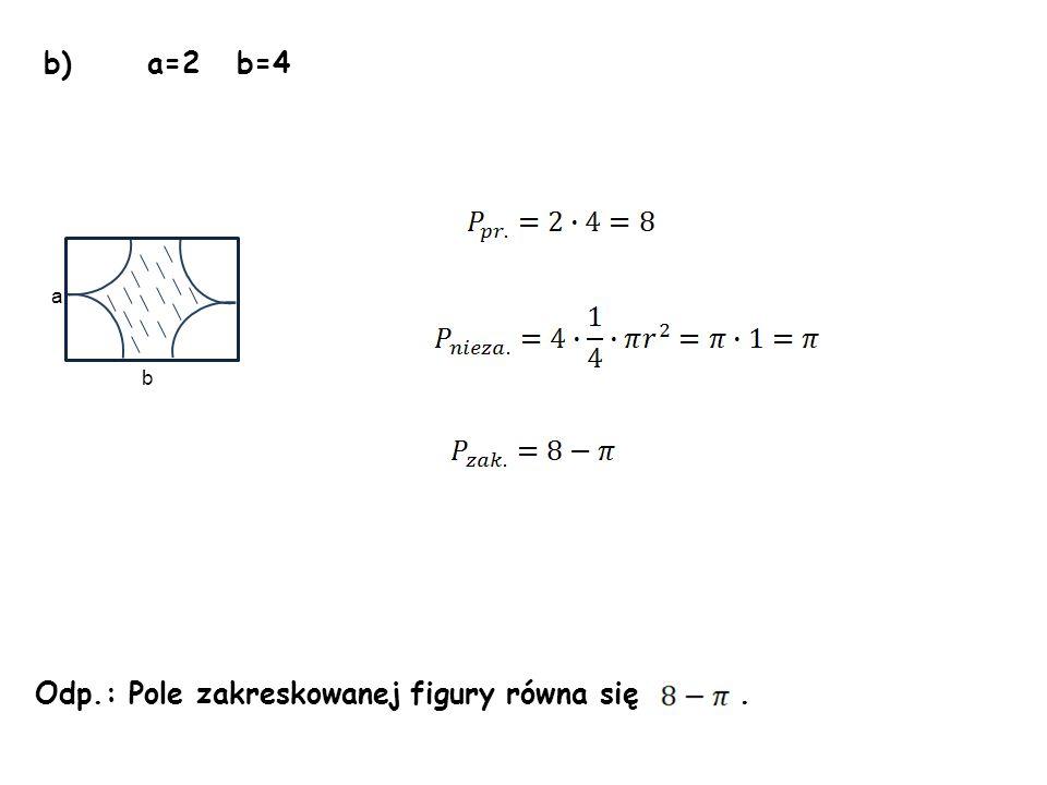 Odp.: Pole zakreskowanej figury równa się .