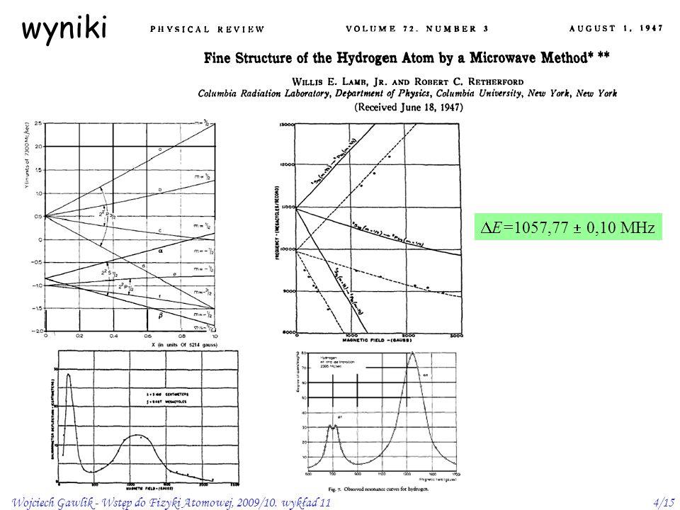 wyniki E=1057,77  0,10 MHz Wojciech Gawlik - Wstęp do Fizyki Atomowej, 2009/10. wykład 11