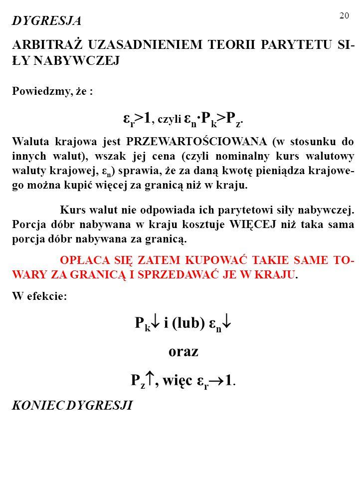εr>1, czyli εn∙Pk>Pz.