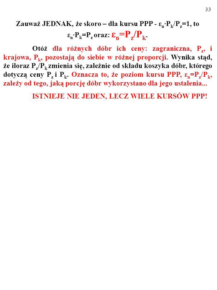 Zauważ JEDNAK, że skoro – dla kursu PPP - εn∙Pk/Pz=1, to εn∙Pk=Pz oraz: εn=Pz/Pk.