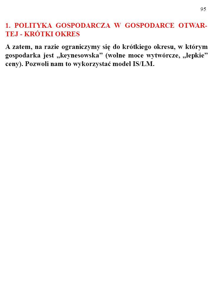 1. POLITYKA GOSPODARCZA W GOSPODARCE OTWAR-TEJ - KRÓTKI OKRES