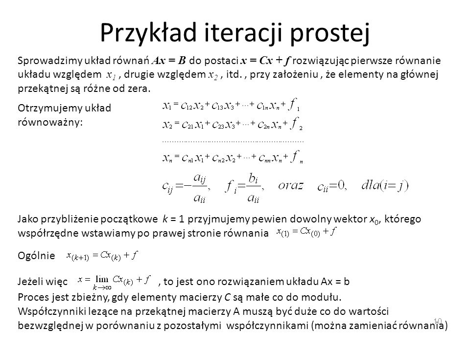 Przykład iteracji prostej