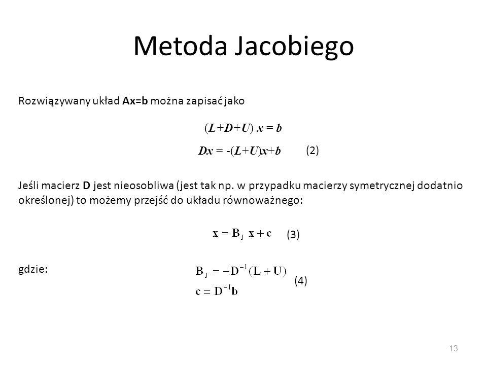 Metoda Jacobiego Rozwiązywany układ Ax=b można zapisać jako