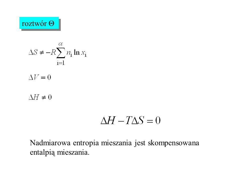 roztwór Θ Nadmiarowa entropia mieszania jest skompensowana entalpią mieszania.