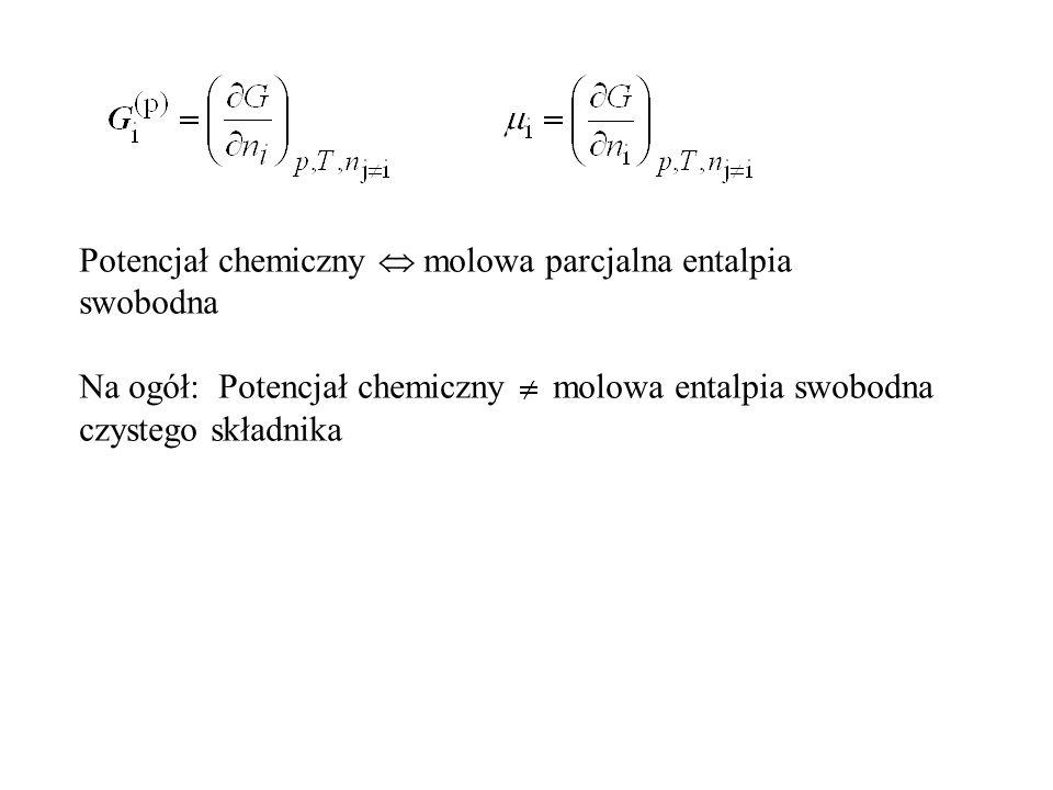 Potencjał chemiczny  molowa parcjalna entalpia swobodna