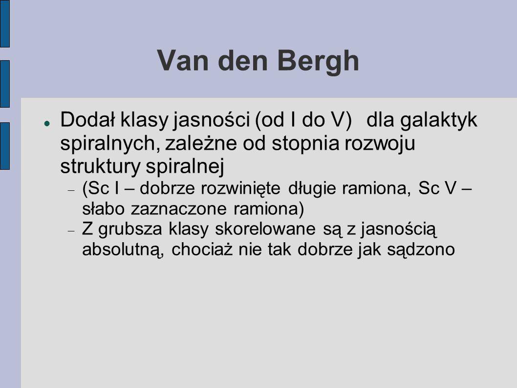 Van den Bergh Dodał klasy jasności (od I do V) dla galaktyk spiralnych, zależne od stopnia rozwoju struktury spiralnej.