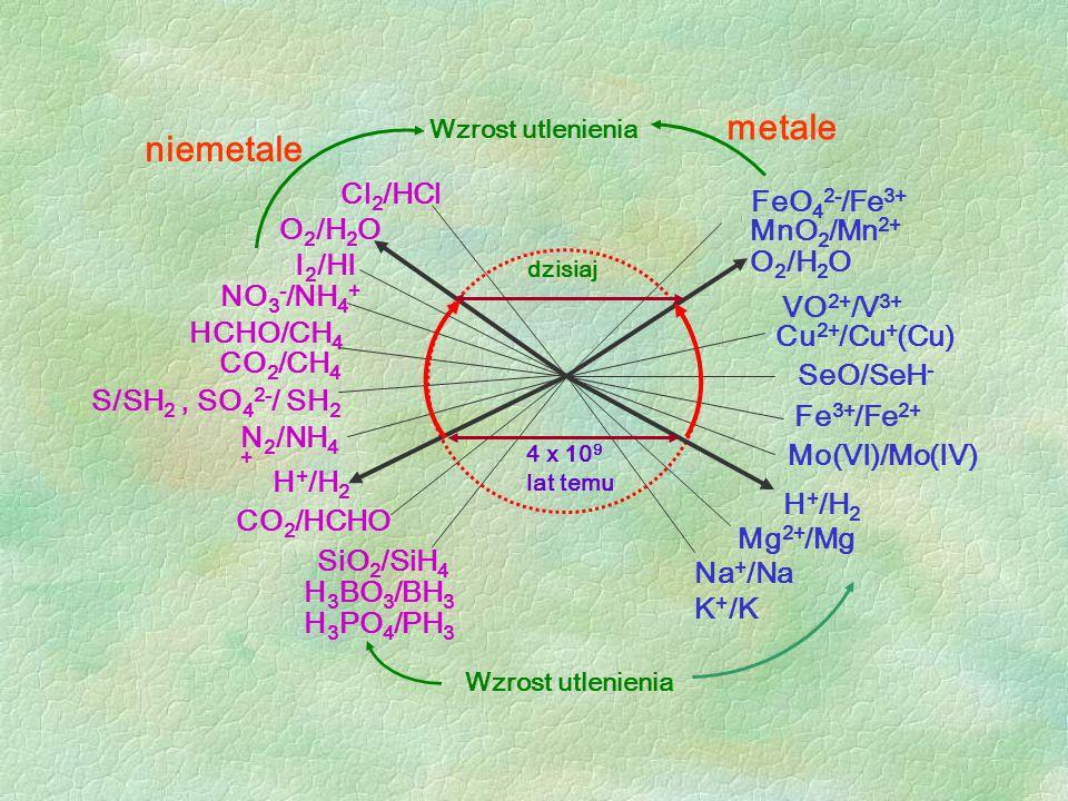 metale niemetale Cl2/HCl FeO42-/Fe3+ MnO2/Mn2+ I2/HI O2/H2O NO3-/NH4+