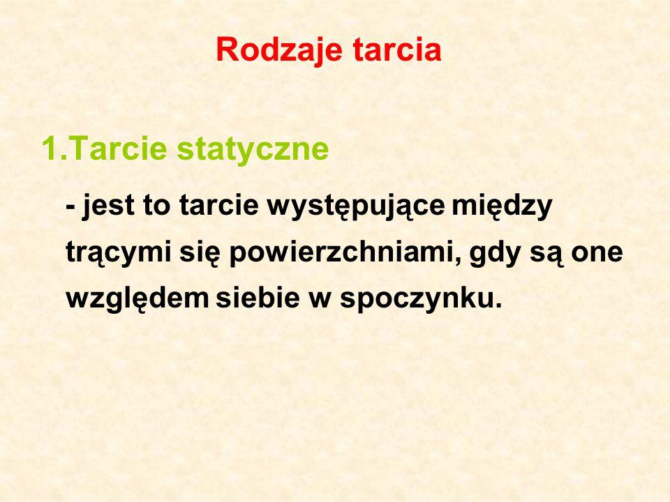 Rodzaje tarcia 1.Tarcie statyczne