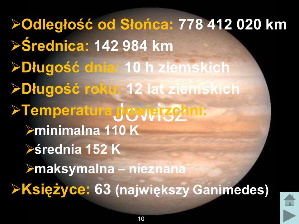 Jowisz Odległość od Słońca: 778 412 020 km Średnica: 142 984 km