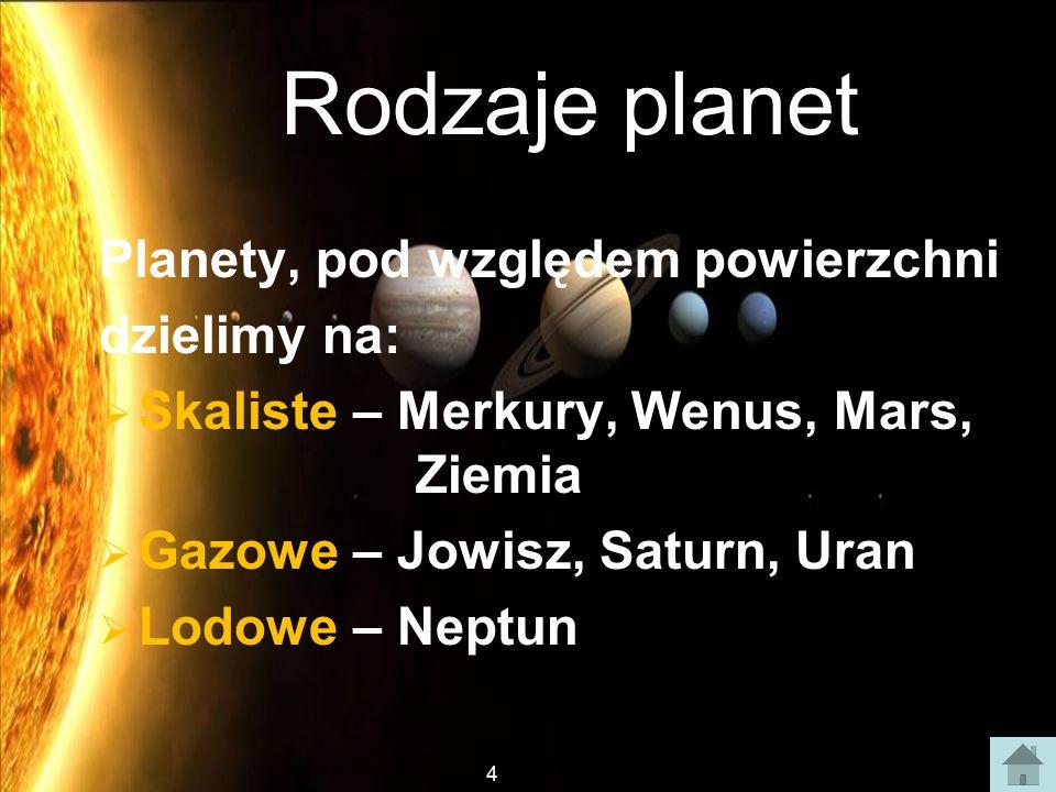 Rodzaje planet Planety, pod względem powierzchni dzielimy na:
