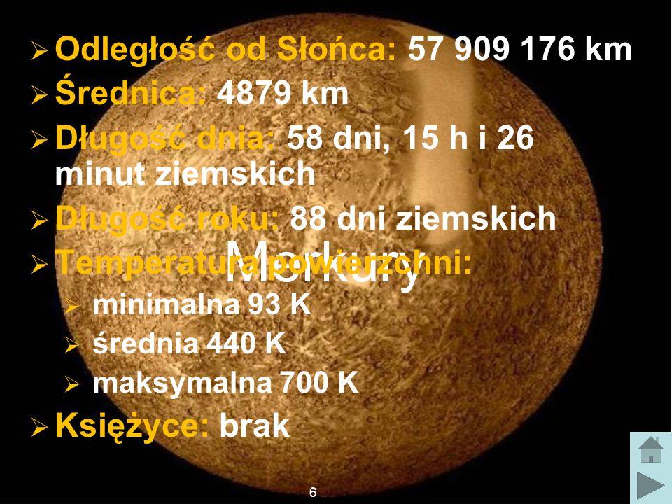 Merkury Odległość od Słońca: 57 909 176 km Średnica: 4879 km
