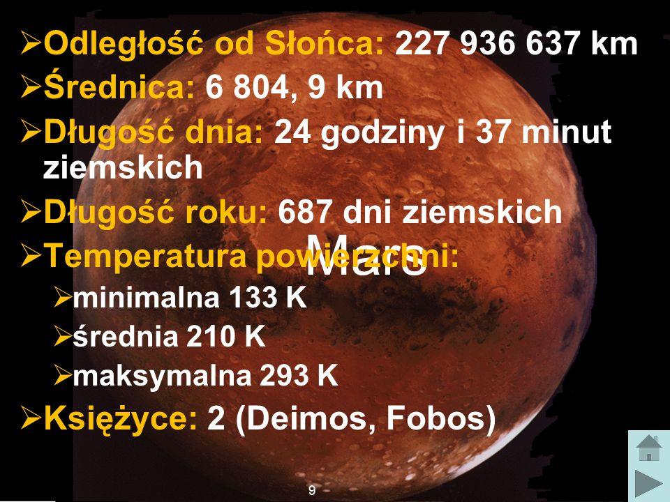 Mars Odległość od Słońca: 227 936 637 km Średnica: 6 804, 9 km
