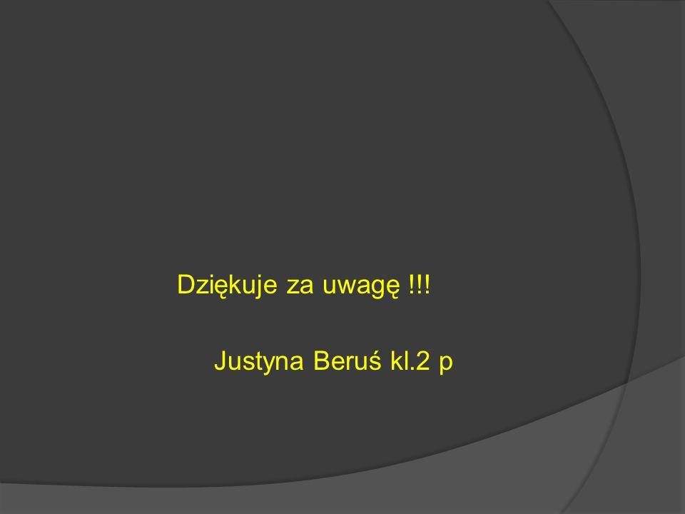Dziękuje za uwagę !!! Justyna Beruś kl.2 p