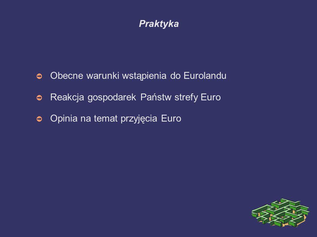 Praktyka Obecne warunki wstąpienia do Eurolandu. Reakcja gospodarek Państw strefy Euro.