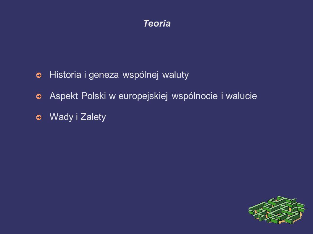 Teoria Historia i geneza wspólnej waluty. Aspekt Polski w europejskiej wspólnocie i walucie.