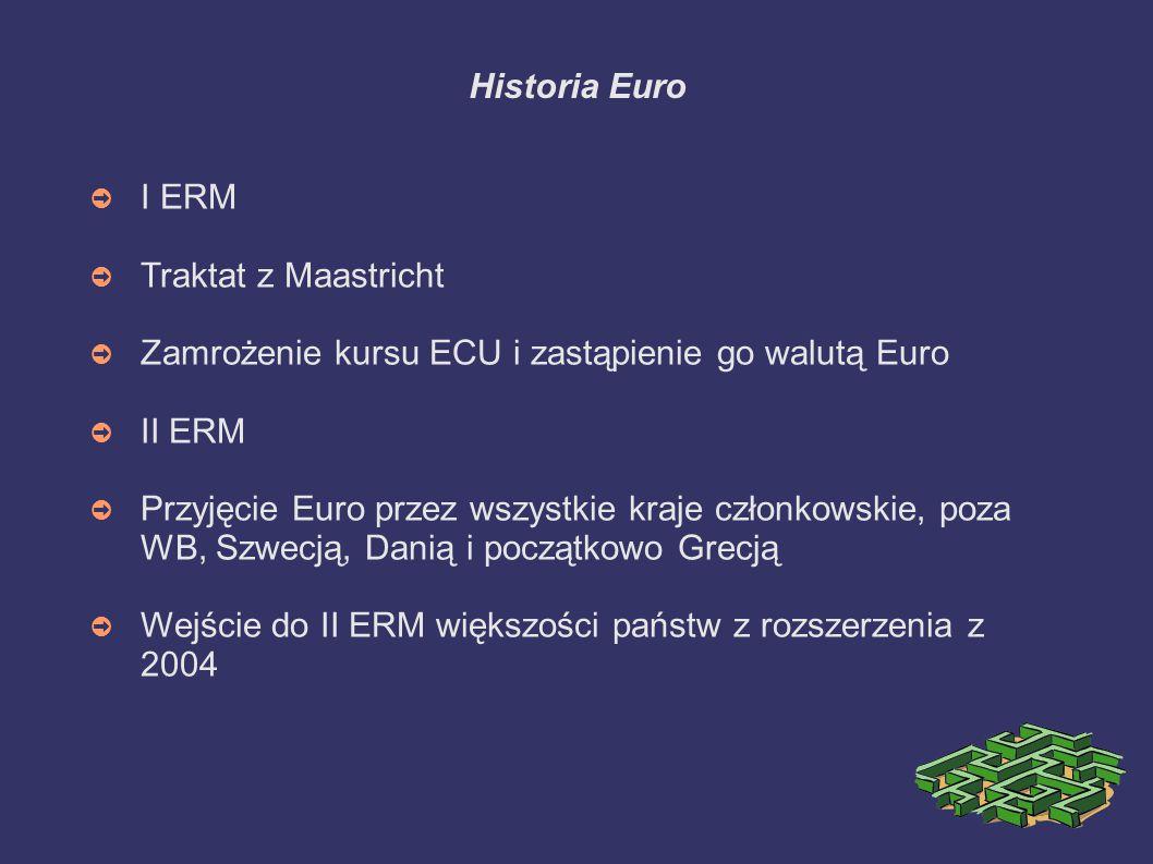 Historia Euro I ERM. Traktat z Maastricht. Zamrożenie kursu ECU i zastąpienie go walutą Euro. II ERM.