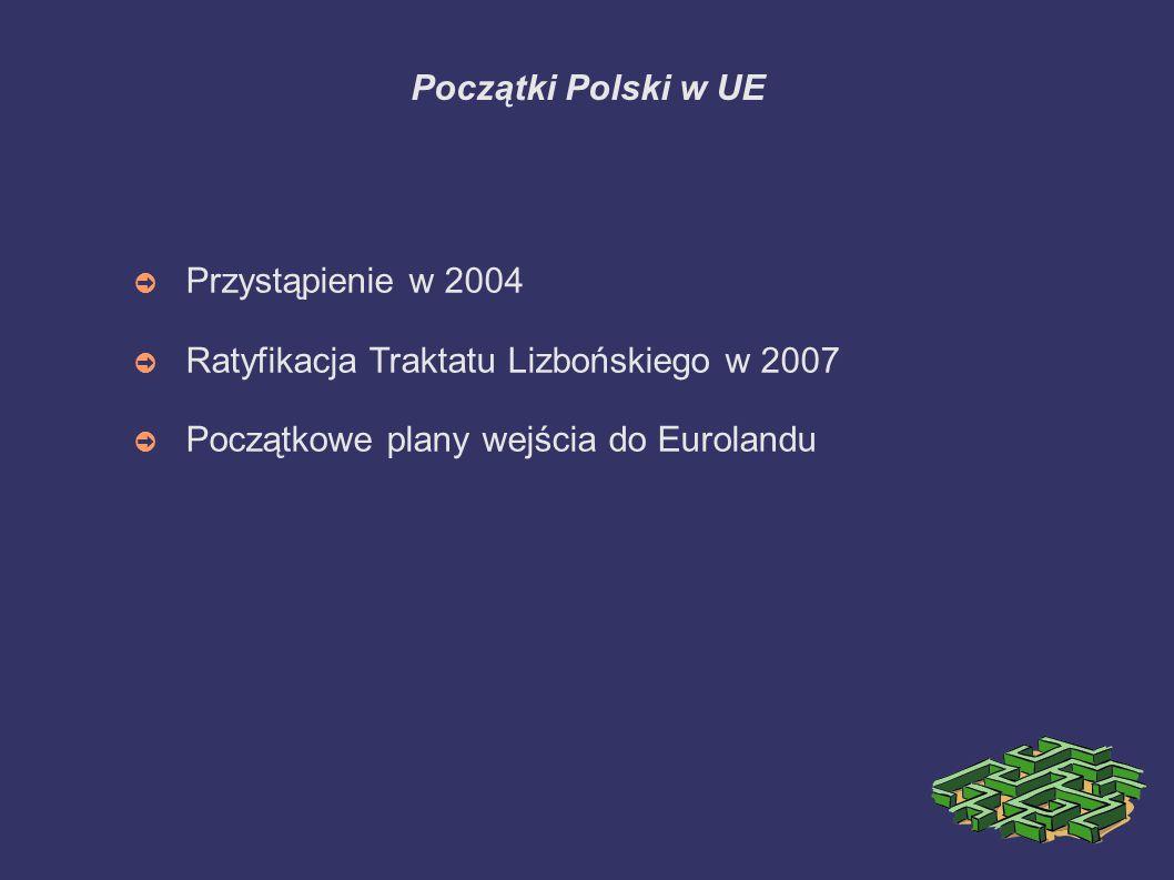 Początki Polski w UE Przystąpienie w 2004. Ratyfikacja Traktatu Lizbońskiego w 2007.