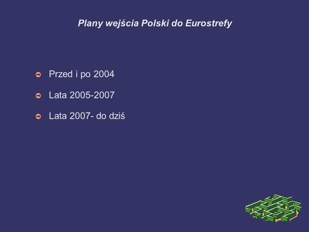 Plany wejścia Polski do Eurostrefy