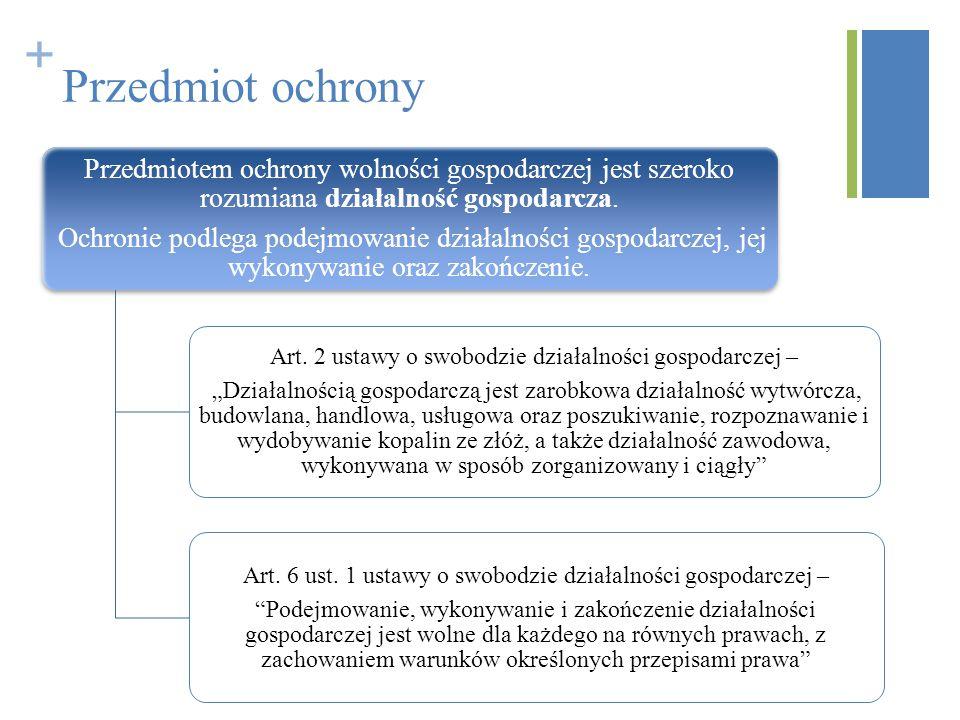 Przedmiot ochrony Przedmiotem ochrony wolności gospodarczej jest szeroko rozumiana działalność gospodarcza.