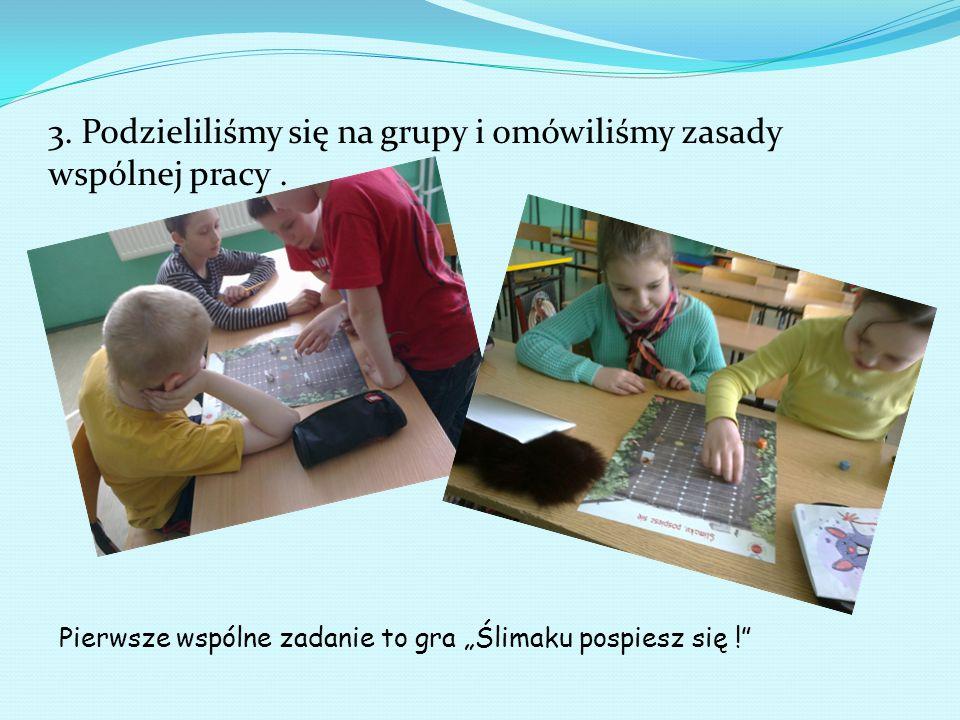 3. Podzieliliśmy się na grupy i omówiliśmy zasady wspólnej pracy .