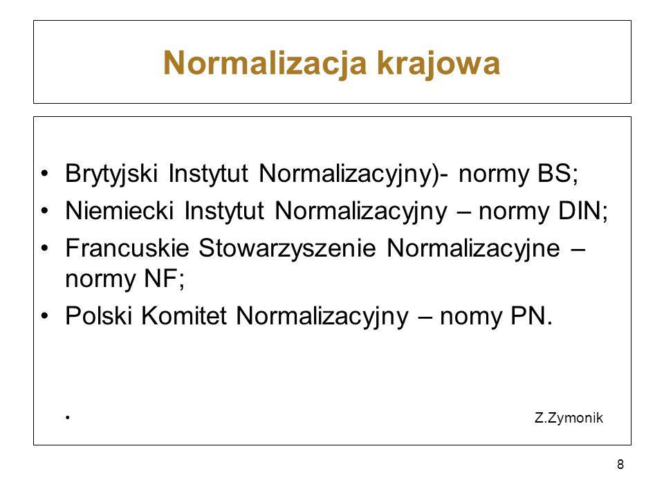 Normalizacja krajowa Brytyjski Instytut Normalizacyjny)- normy BS;