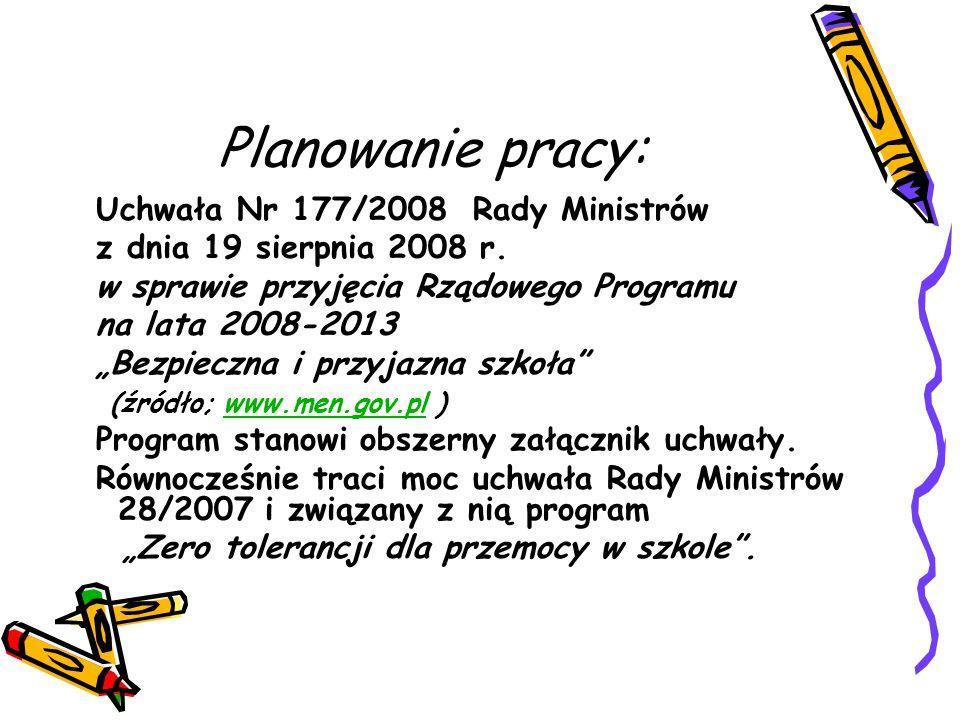 Planowanie pracy: Uchwała Nr 177/2008 Rady Ministrów