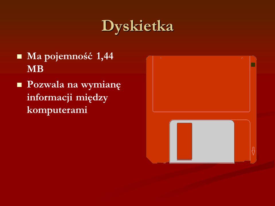 Dyskietka Ma pojemność 1,44 MB