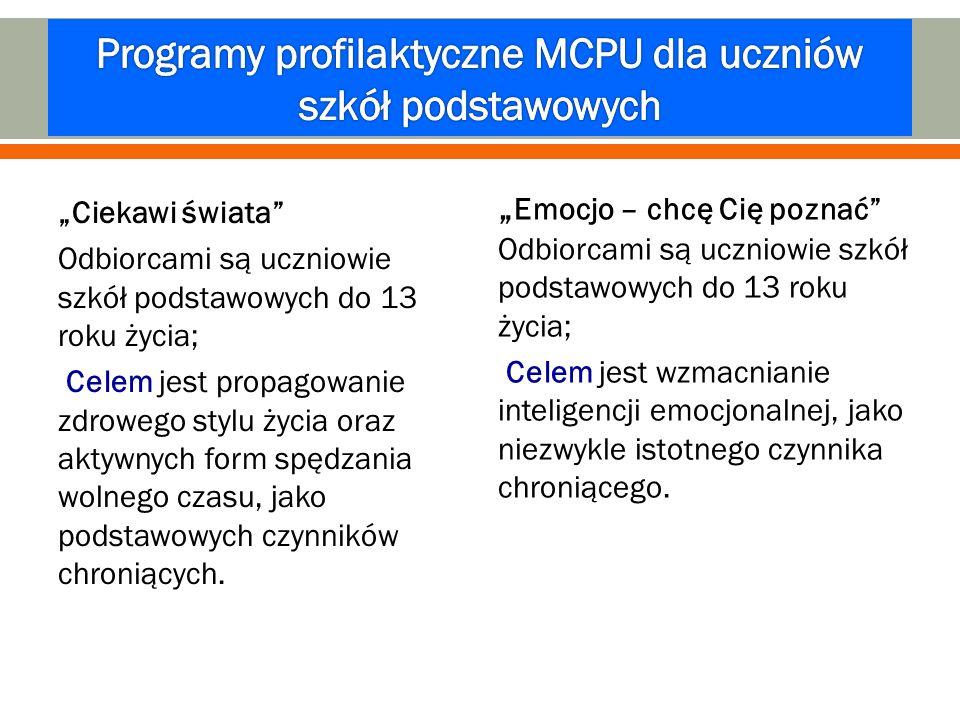 Programy profilaktyczne MCPU dla uczniów szkół podstawowych