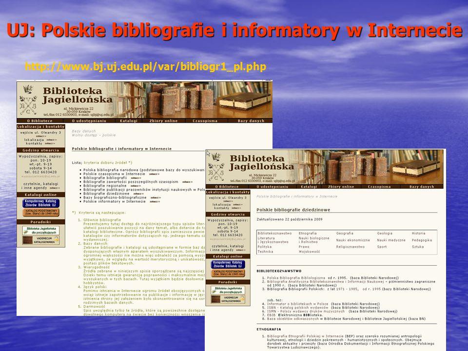 UJ: Polskie bibliografie i informatory w Internecie