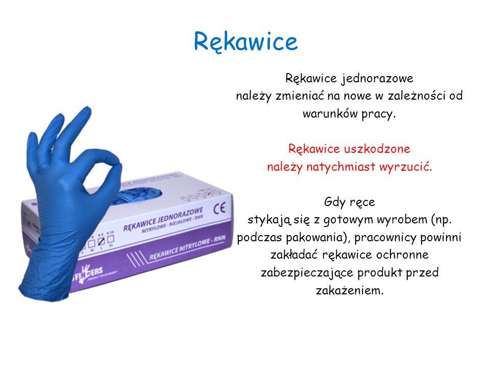 Rękawice Rękawice jednorazowe należy zmieniać na nowe w zależności od