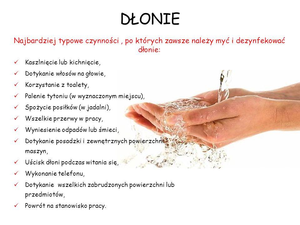 DŁONIE Najbardziej typowe czynności , po których zawsze należy myć i dezynfekować dłonie: Kaszlnięcie lub kichnięcie,