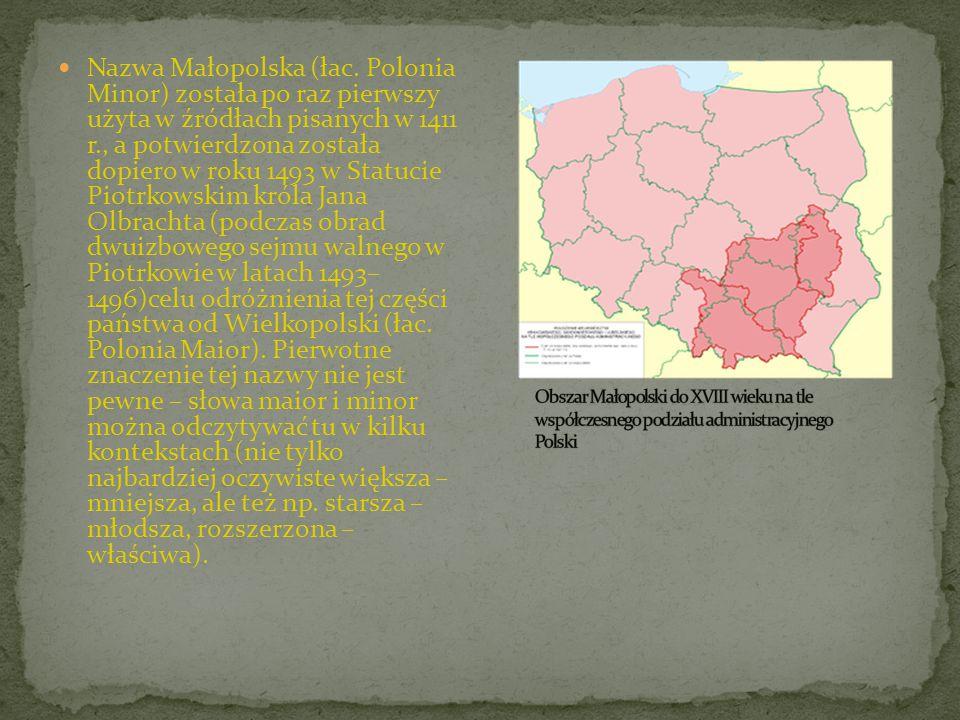 Nazwa Małopolska (łac. Polonia Minor) została po raz pierwszy użyta w źródłach pisanych w 1411 r., a potwierdzona została dopiero w roku 1493 w Statucie Piotrkowskim króla Jana Olbrachta (podczas obrad dwuizbowego sejmu walnego w Piotrkowie w latach 1493– 1496)celu odróżnienia tej części państwa od Wielkopolski (łac. Polonia Maior). Pierwotne znaczenie tej nazwy nie jest pewne – słowa maior i minor można odczytywać tu w kilku kontekstach (nie tylko najbardziej oczywiste większa – mniejsza, ale też np. starsza – młodsza, rozszerzona – właściwa).
