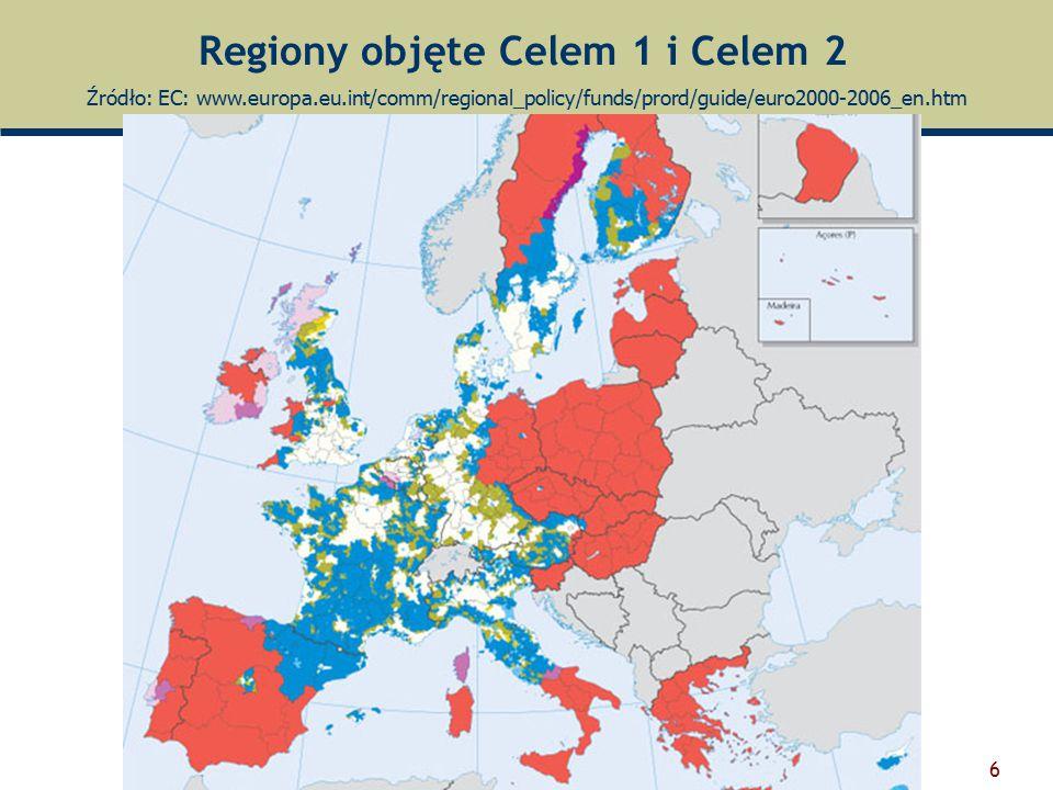 Regiony objęte Celem 1 i Celem 2