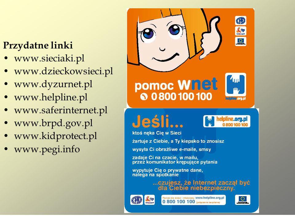Przydatne linki www.sieciaki.pl. www.dzieckowsieci.pl. www.dyzurnet.pl. www.helpline.pl. www.saferinternet.pl.