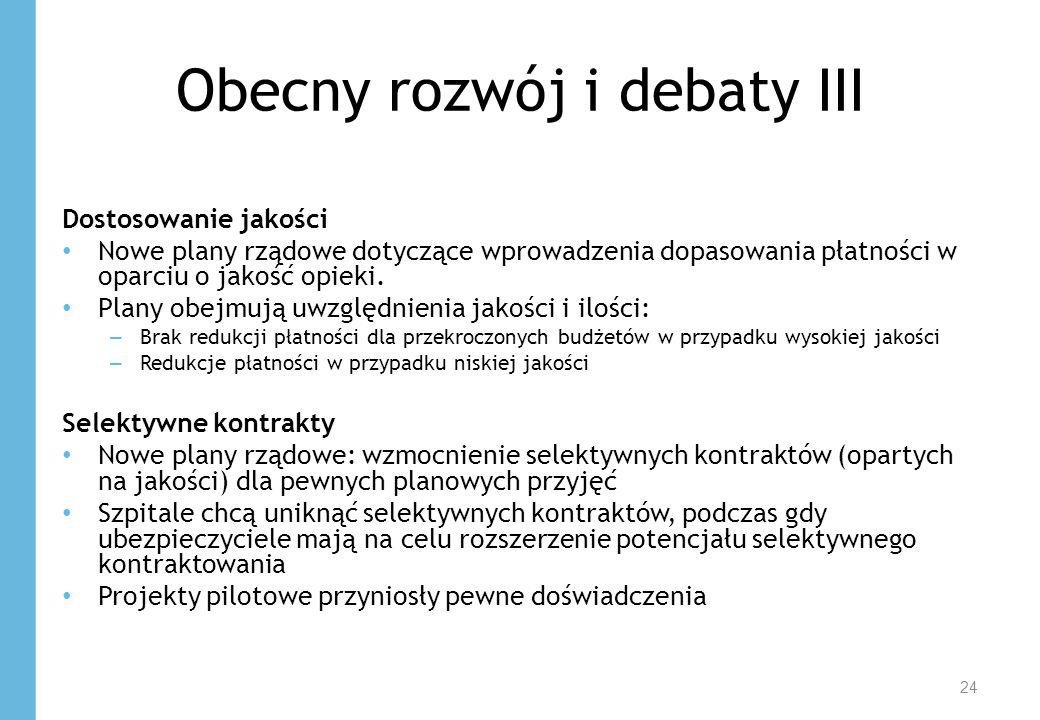 Obecny rozwój i debaty III