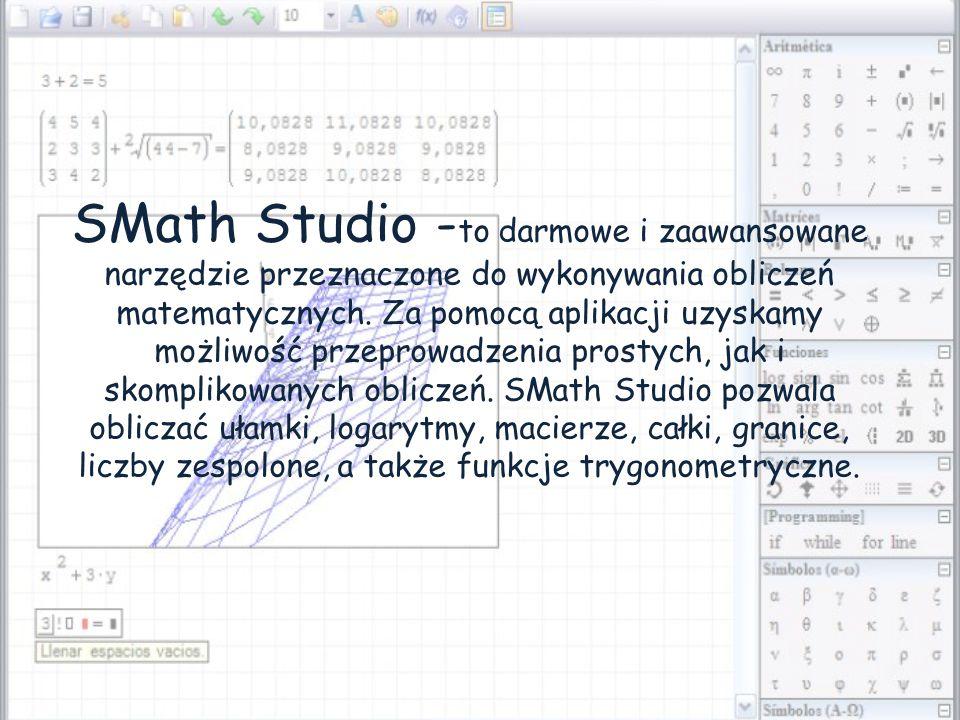 SMath Studio -to darmowe i zaawansowane narzędzie przeznaczone do wykonywania obliczeń matematycznych.