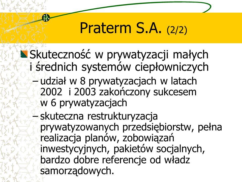 Praterm S.A. (2/2) Skuteczność w prywatyzacji małych i średnich systemów ciepłowniczych.