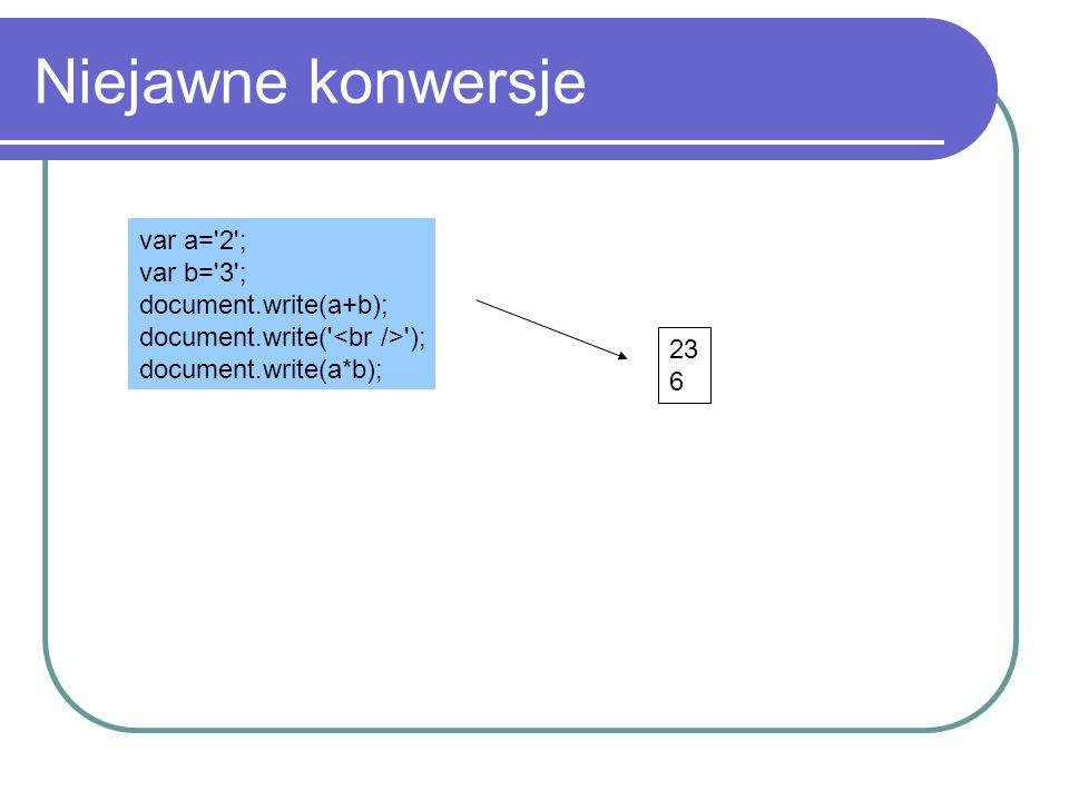 Niejawne konwersje var a= 2 ; var b= 3 ; document.write(a+b);